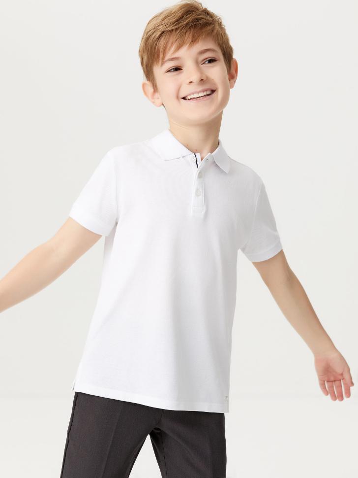 Футболка-поло для мальчиков (белый, 140/ 10-11 YEARS)