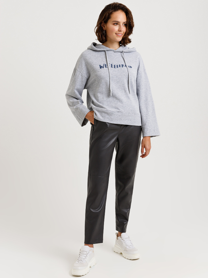 брюки из экокожи (серый, S)