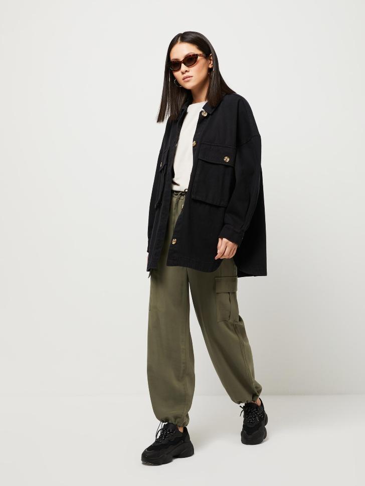 Вискозные брюки-карго (зеленый, M)