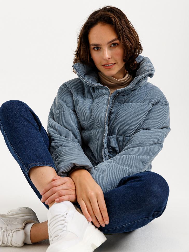 короткая куртка из вельвета (голубой, M)