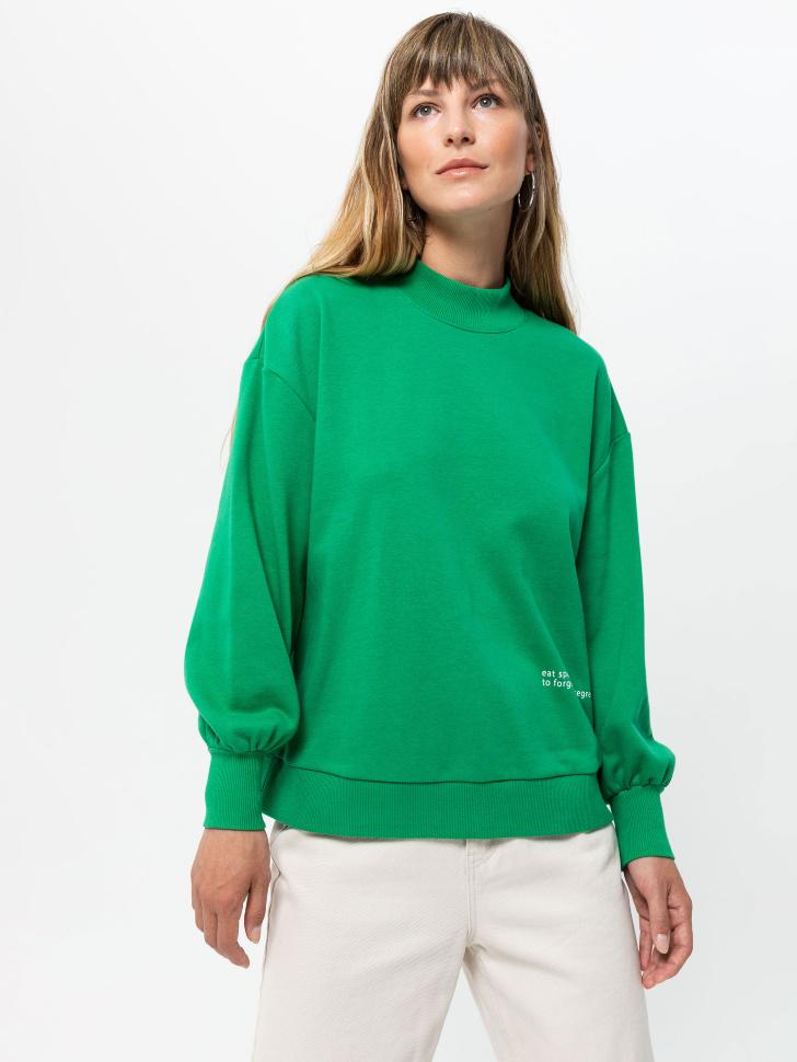 Свитшот с воротником-стойкой (зеленый, XS)