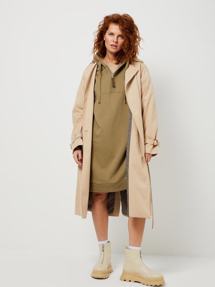 Платье-толстовка на молнии (зеленый, L)