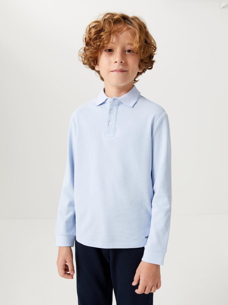 Трикотажное поло с длинным рукавом для мальчиков (голубой, 158/ 13-14 YEARS)