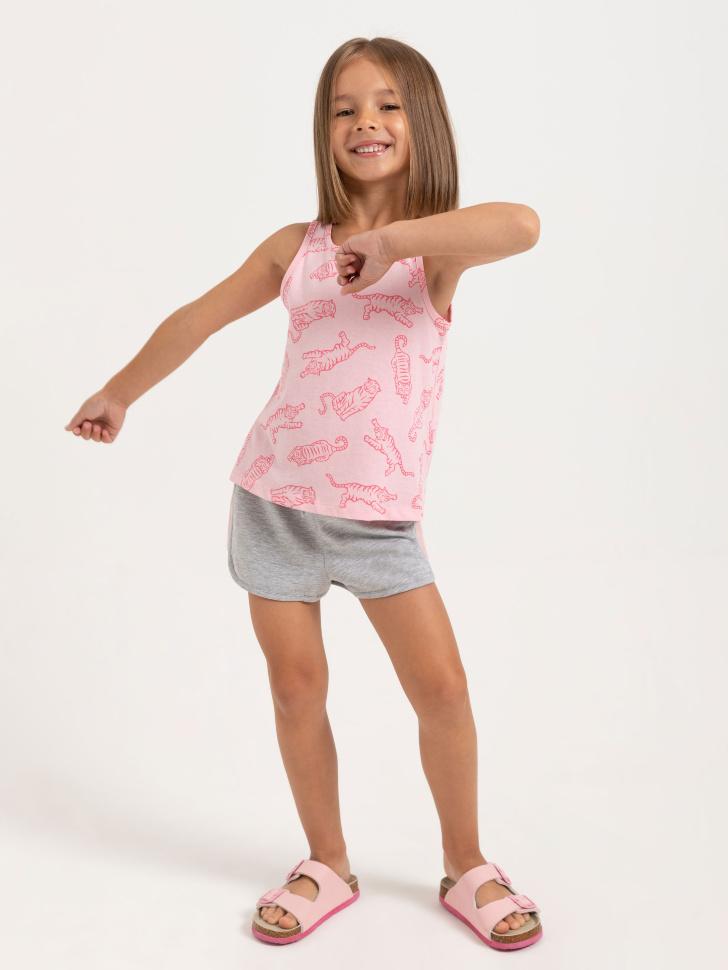 SELA Трикотажные шорты для девочек (серый, 116/ 6-7 YEARS)