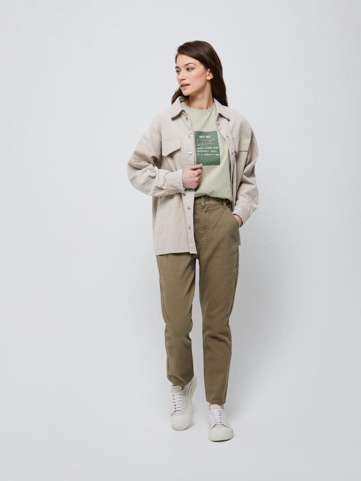 Твиловые брюки (зеленый, S)