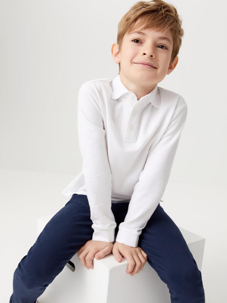 Трикотажное поло с длинным рукавом для мальчиков (белый, 152/ 12-13 YEARS)
