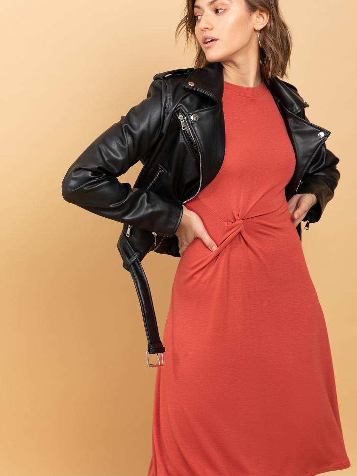 SELA Платье с драпировкой (коричневый, S)