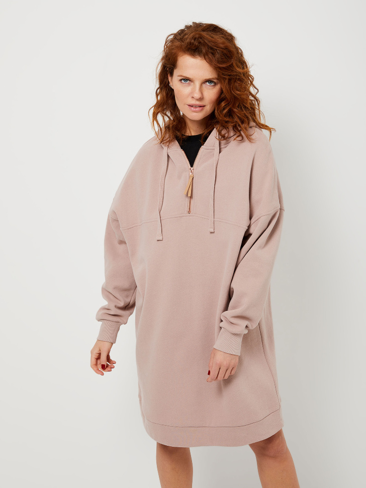 Платье-толстовка на молнии (коричневый, M)