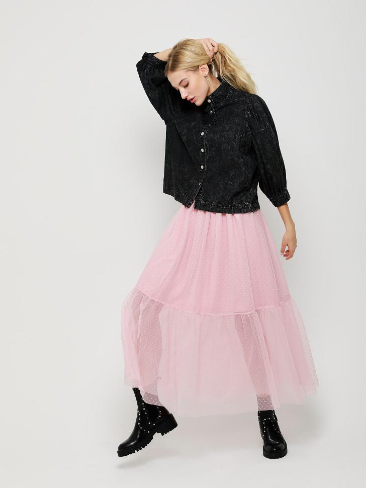 Юбка миди с вышивкой плюмети (розовый, S)