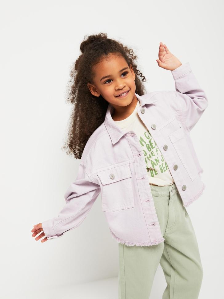Яркая джинсовая куртка для девочек (сиреневый, 104/ 4-5 YEARS)