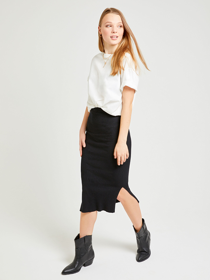 юбка из трикотажа (черный, XL)