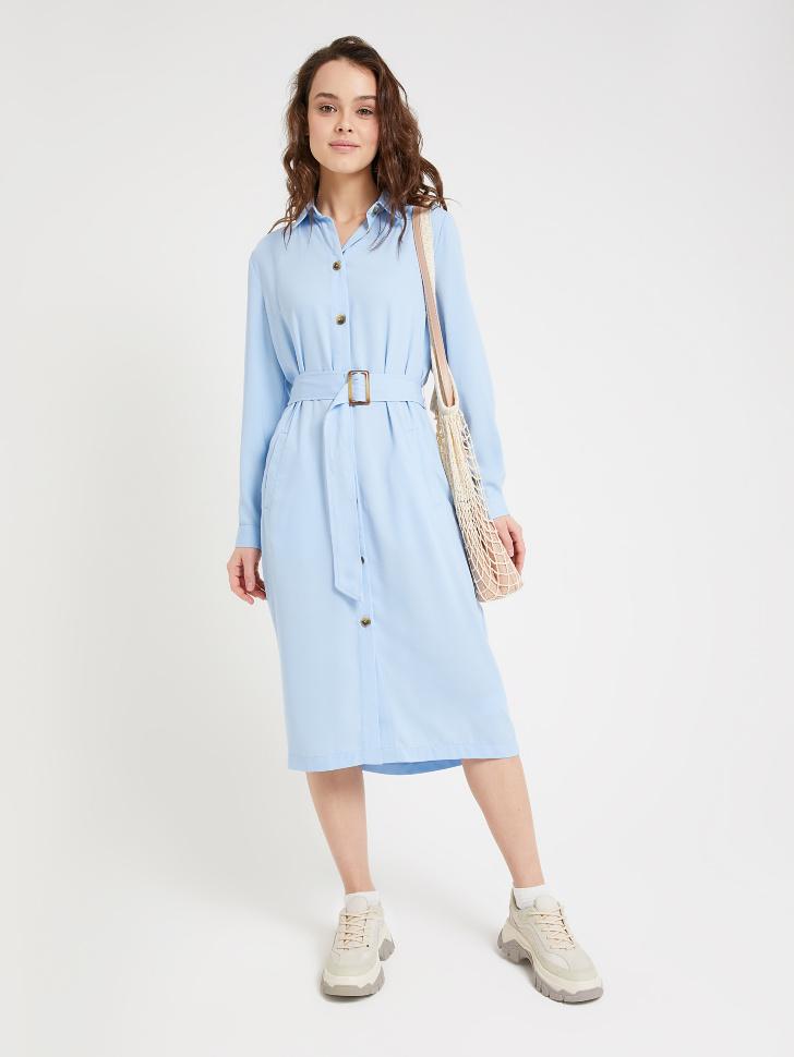 SELA платье-рубашка (голубой, L)