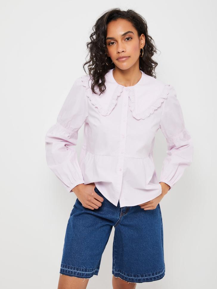Блузка с широким воротником и баской (фиолетовый, S)