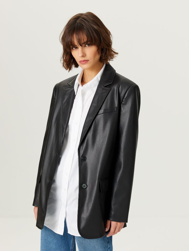 Объемный пиджак из экокожи (черный, L)