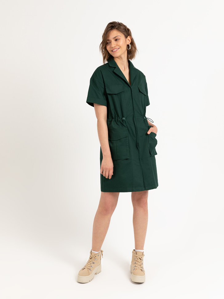 Платье в стиле сафари (зеленый, M)