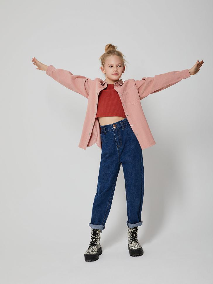 Рубашка из вельвета для девочек (розовый, 140/ 10-11 YEARS)