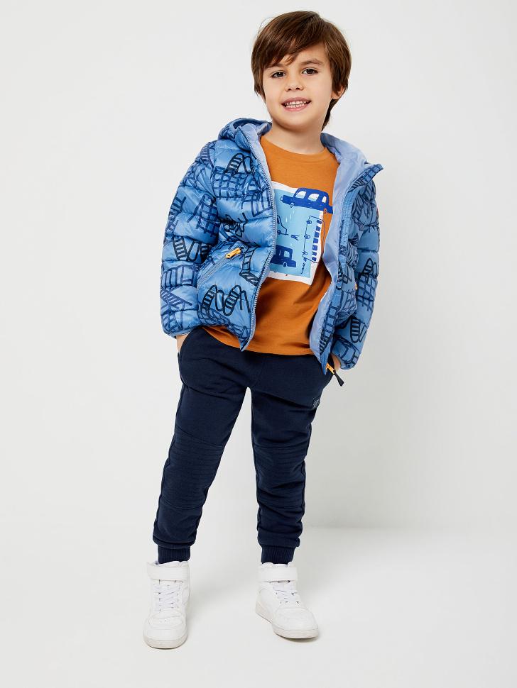 Стеганая куртка с принтом для мальчиков (голубой, 104/ 4-5 YEARS)