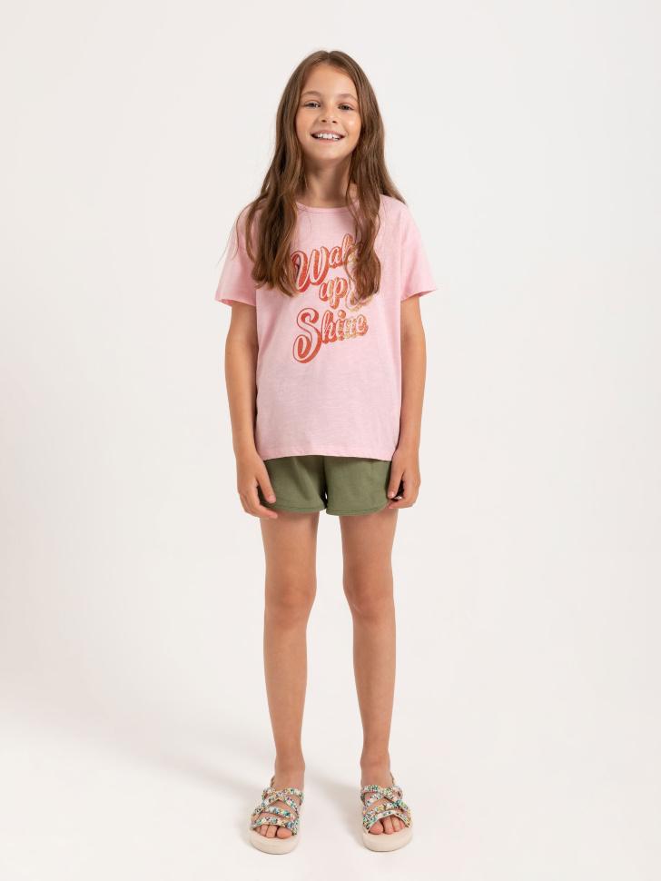 SELA Трикотажные шорты для девочек (зеленый, 128/ 8-9 YEARS)