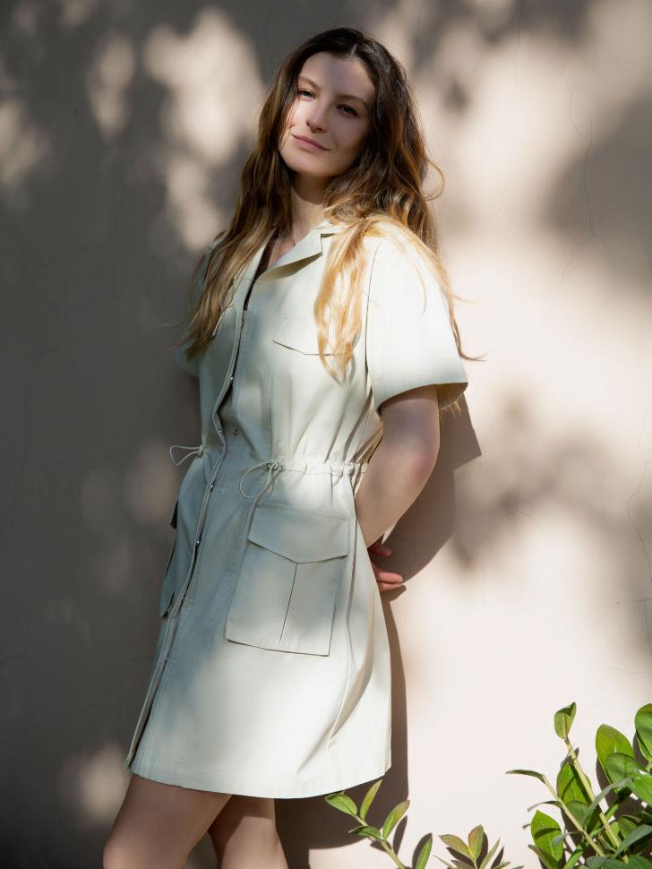 Платье в стиле сафари (белый, XS)