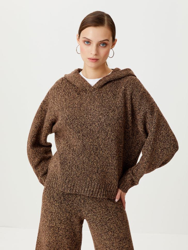 Вязаное худи (коричневый, M)