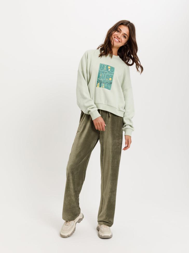 Широкие брюки из вельвета (зеленый, L)