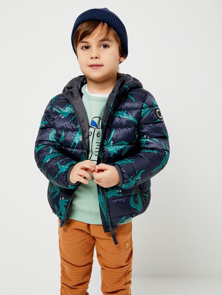 Стеганая куртка с принтом для мальчиков (зеленый, 116/ 6-7 YEARS)
