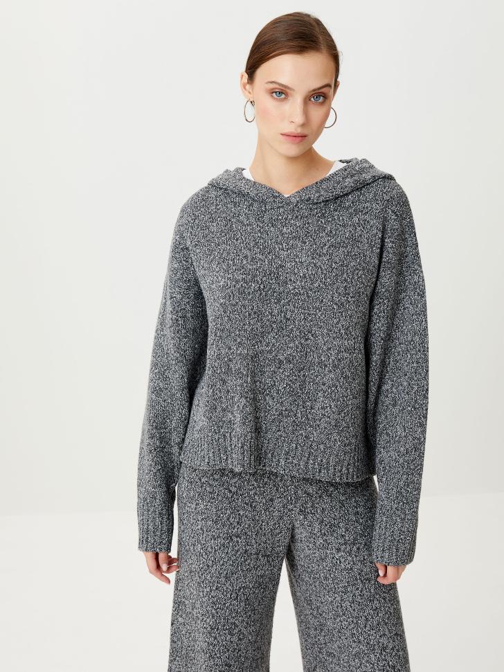 Вязаное худи (серый, XS)