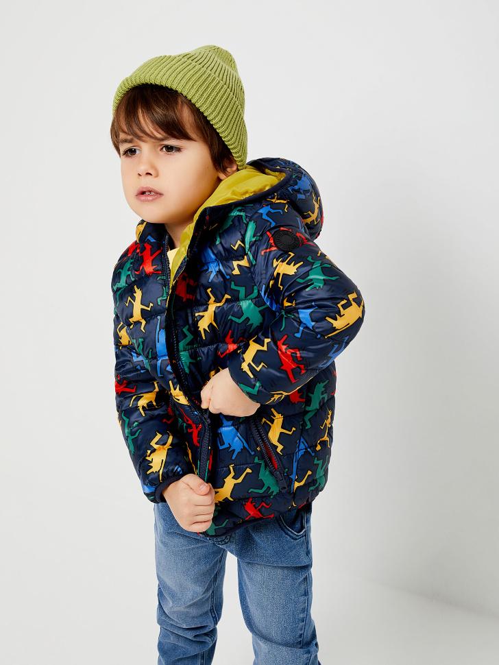 Стеганая куртка с принтом для мальчиков (принт, 98/ 3-4 YEARS)