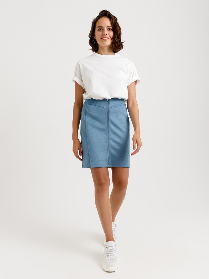 юбка из замши (синий, L)