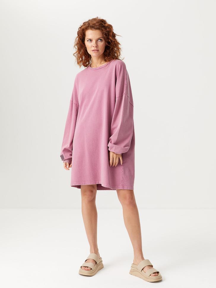 Платье-свитшот с эффектом стирки (розовый, S)
