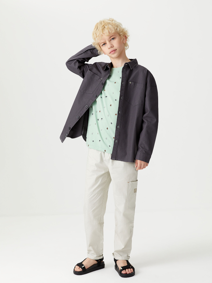 Рубашка с принтом на спине для мальчиков (серый, 128/ 8-9 YEARS)