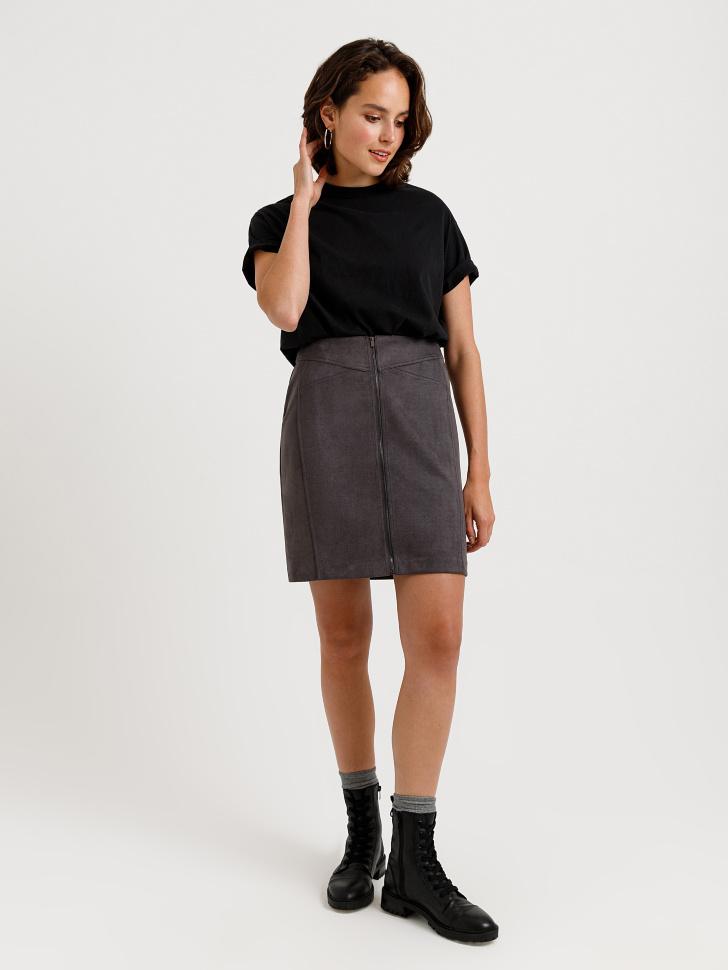 юбка из замши (серый, XS)