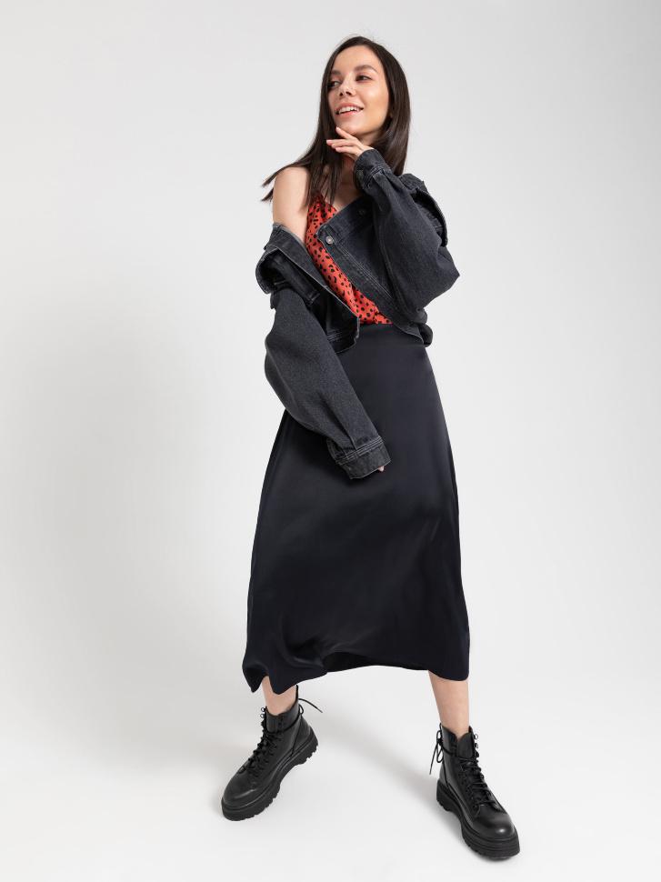 SELA Атласная юбка (черный, XS)