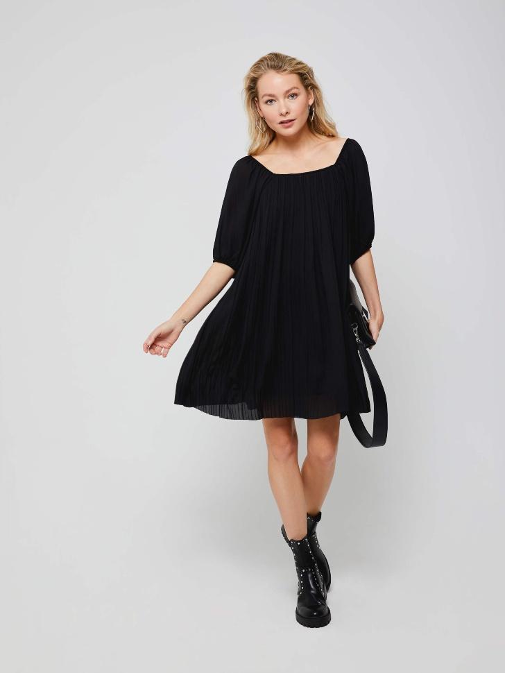 Плиссированное платье (черный, L)