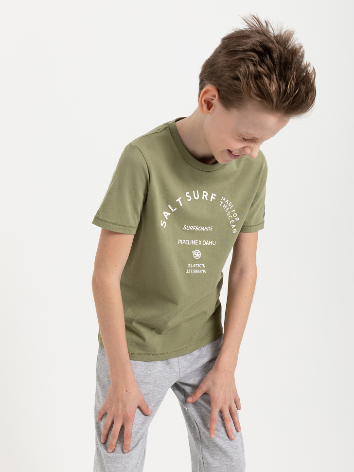 SELA Футболка для мальчиков (зеленый, 134/ 9-10 YEARS)