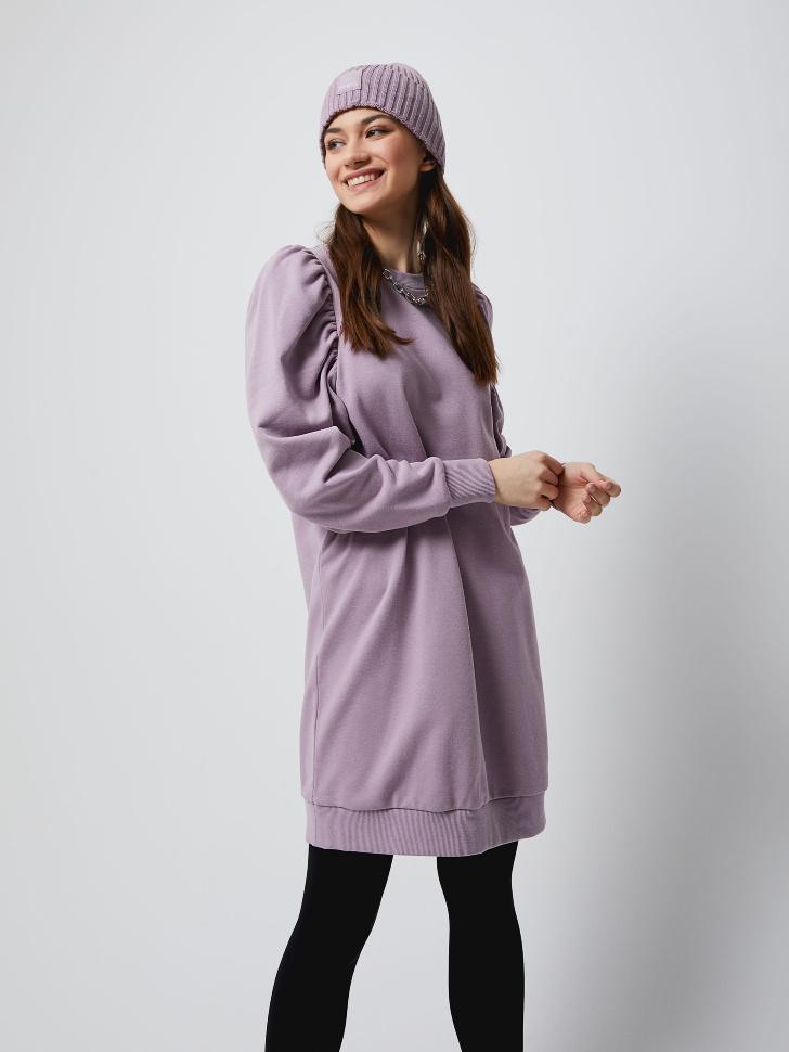 Трикотажное платье с пышными рукавами (фиолетовый, L)