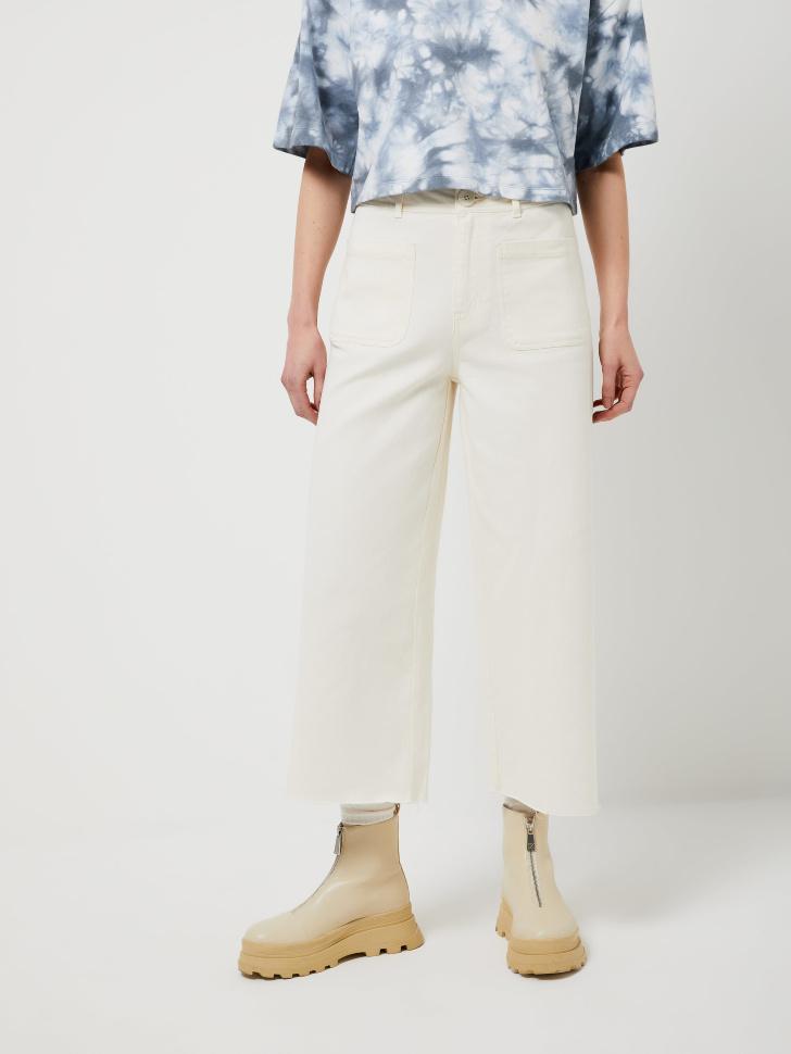 Широкие укороченные брюки (бежевый, L)