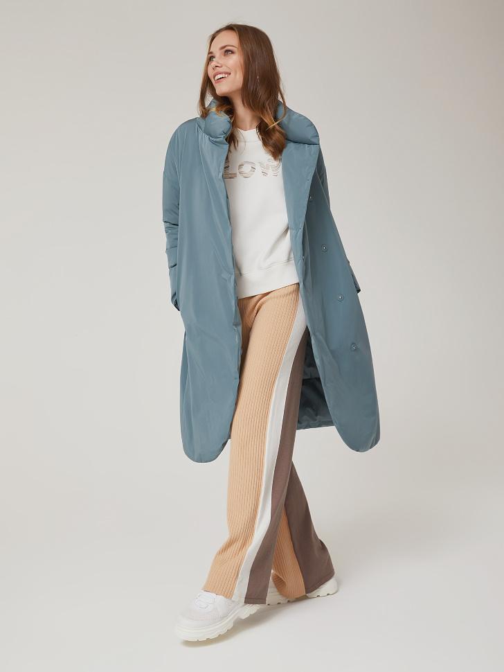 утепленное пальто с воротником-стойкой (зеленый, S)