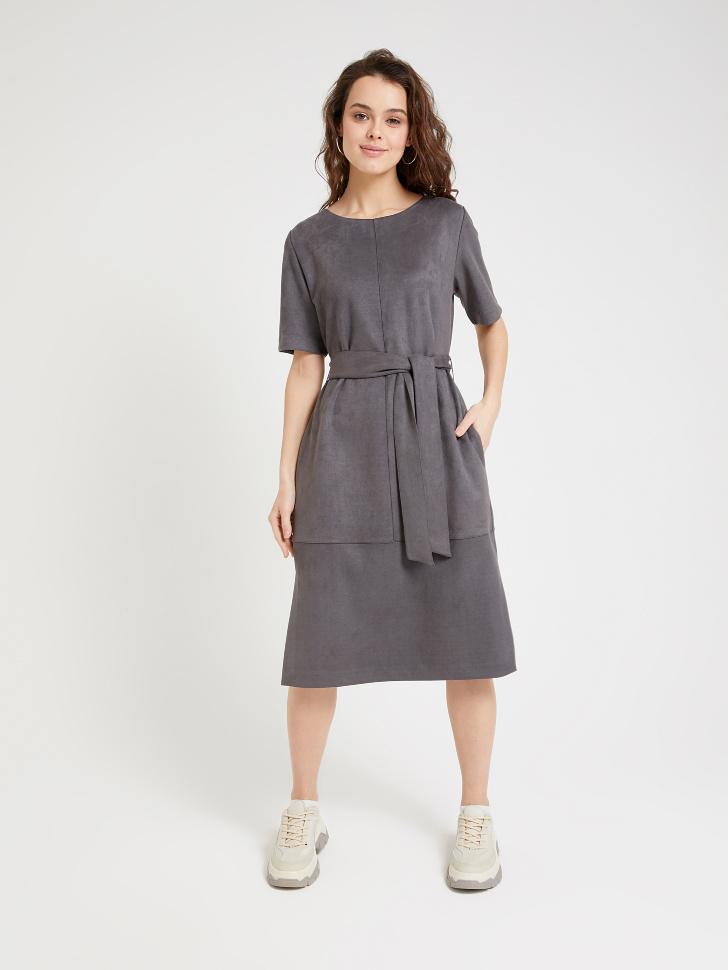SELA платье из искусственной замши (серый, L)