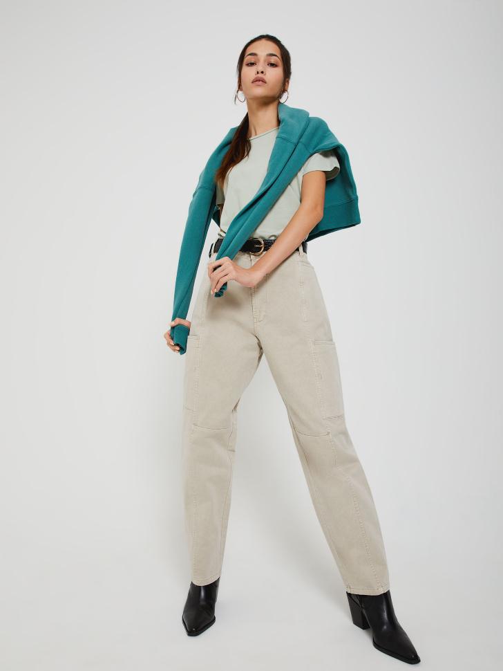 Джинсы с накладными карманами (бежевый, S)