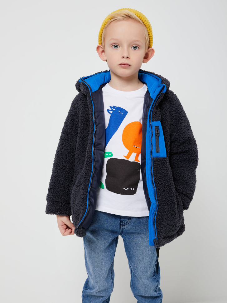 Куртка из искусственной овчины для мальчиков (серый, 104/ 4-5 YEARS)
