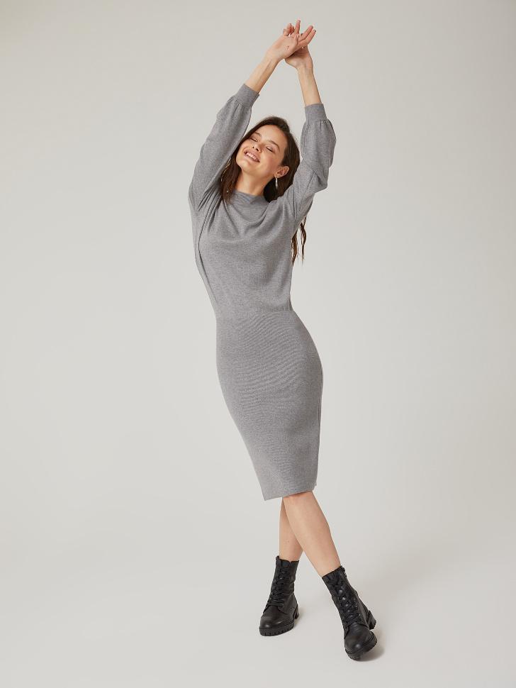 Купить со скидкой платье вязаное (серый, XS)