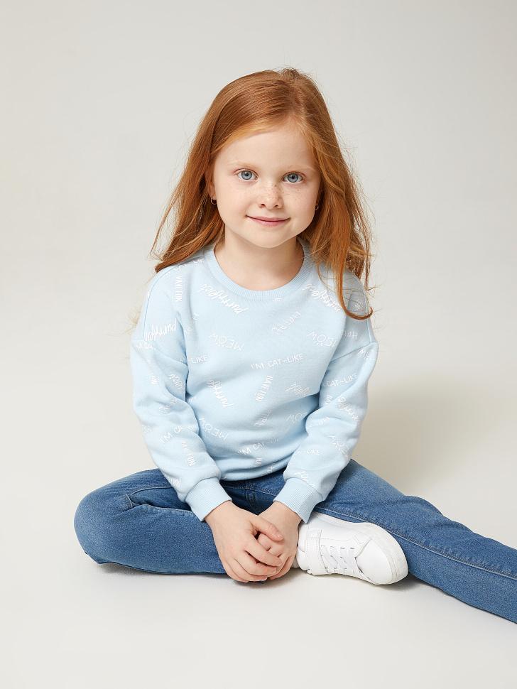 Купить со скидкой свитшот для девочек с принтом (голубой, 92)