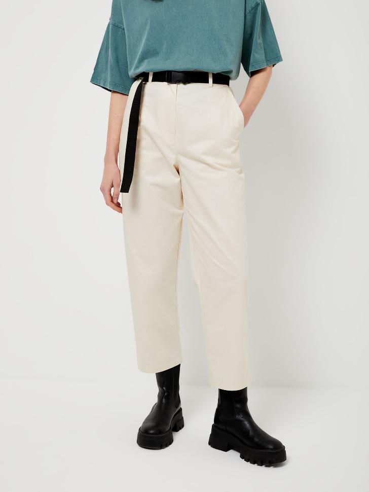 SELA Прямые брюки с ремнем (белый, XS)