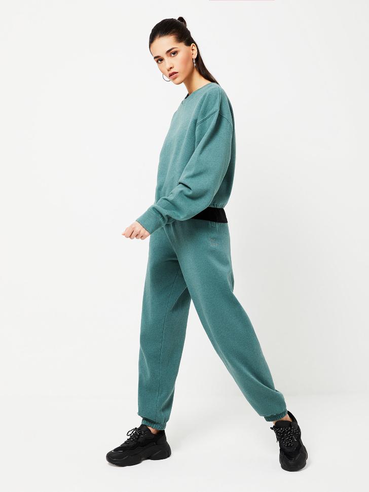 Трикотажные брюки с вышивкой (зеленый, S)