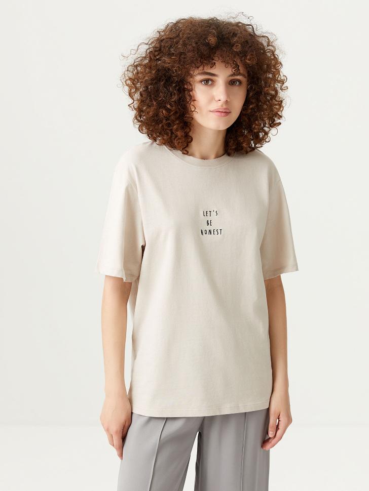 Удлиненная футболка с вышивкой (белый, S)