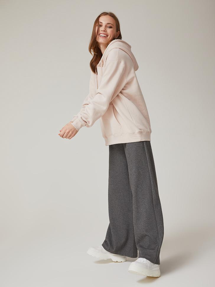 Купить со скидкой широкие брюки с завышенной талией (серый, M)