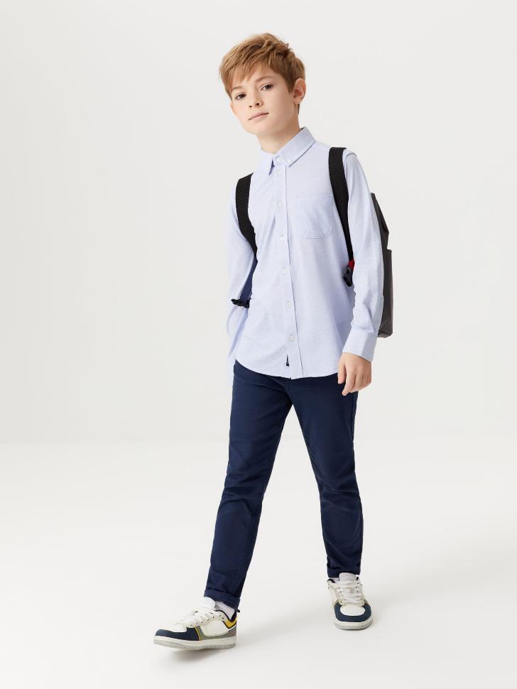 Школьная рубашка из фактурной ткани для мальчиков (голубой, 122/ 7-8 YEARS)
