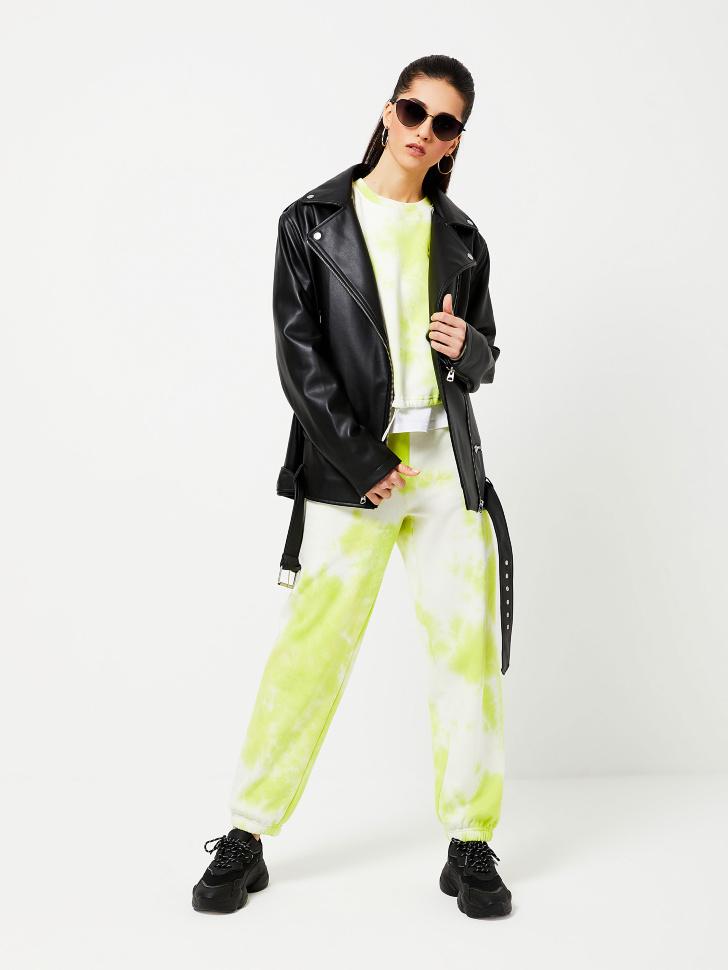Трикотажные брюки тай-дай с вышивкой (зеленый, M)