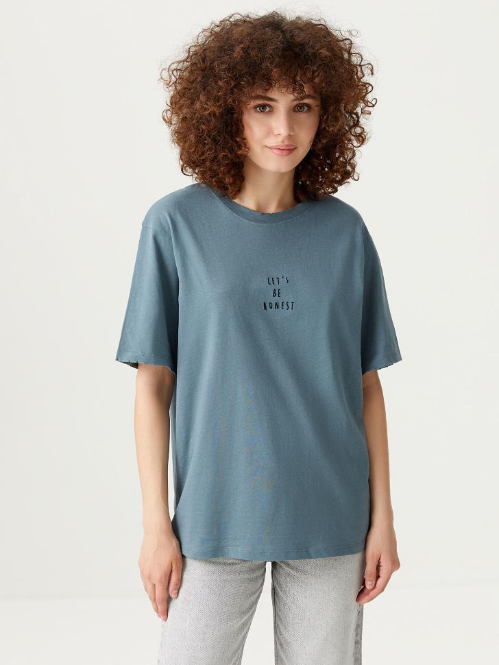 Удлиненная футболка с вышивкой (зеленый, L)